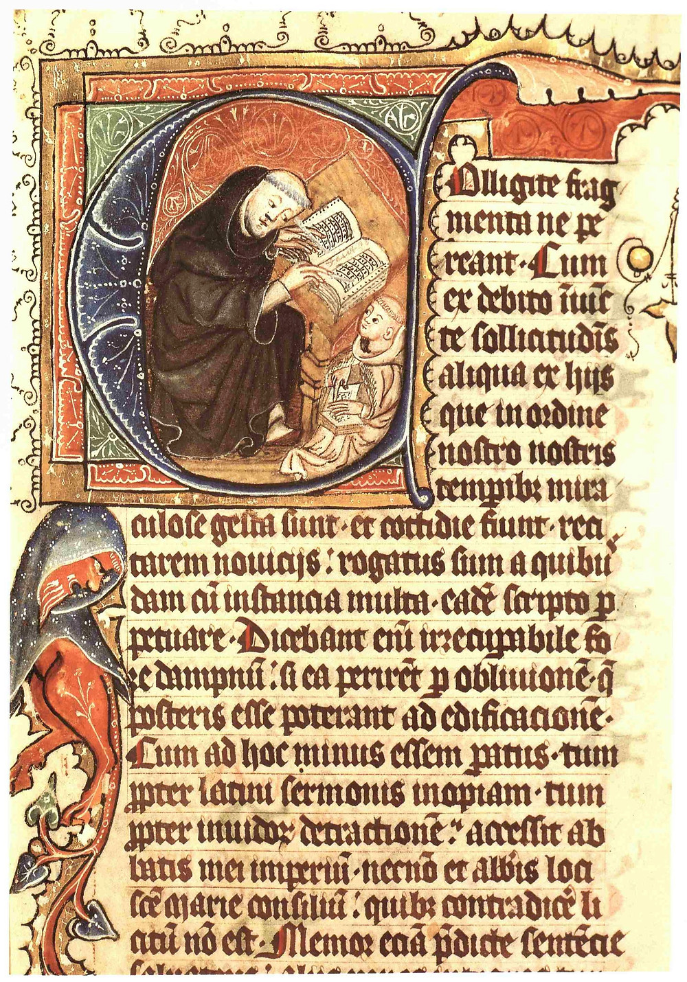 The first page of a copy of Caesarius of Heisterbach's Dialogus miraculorum, written in the mid-fourteenth century in the Rhineland and featuring a depiction of the author in the initial capital (Düsseldorf, Universitäts-und Landesbibliothek, MS C 27, f.1r)