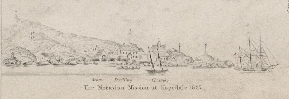 Extract from 'Plans of Anchorages on N.E. Coast of Labrador' (above) showing the  Moravian Mission at Hopedale seventy years on. Image in the McGill University Collection.