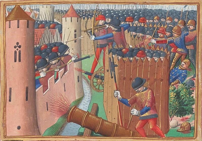 Figure 4: Detail depicting the Siege of Orléans in 1428 – note the presence of a cannon in the front-centre of the image. Les Vigiles de Charles VII, c. 1484. Bibliothèque nationale de France, Français 5054, folio 53r.