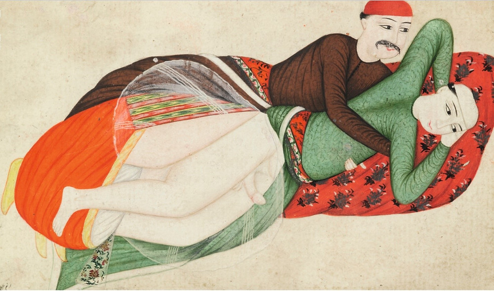 Sotheby's, Lot 55: Turkey, probably Istanbul, 18th century, Two erotic scenes, ascribed to Abdullah Bukhari, both signed and one dated 1156 AH/1743 AD