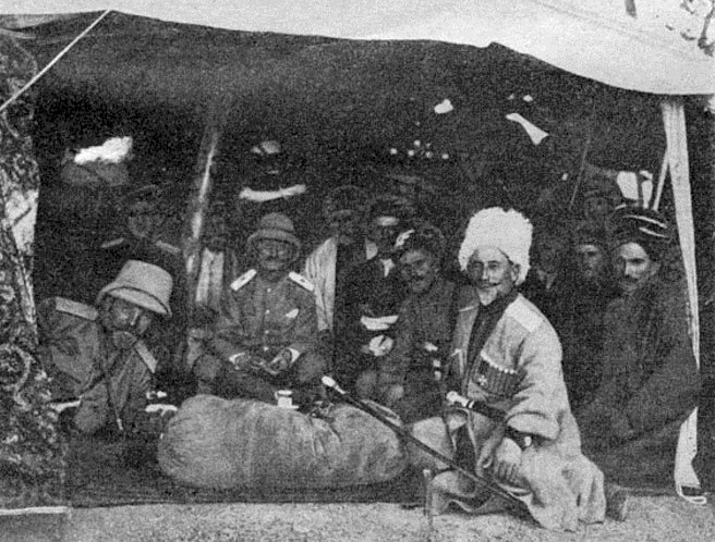 Russian Cossack and British officers meeting with Kurdish tribal leaders, 1917.
