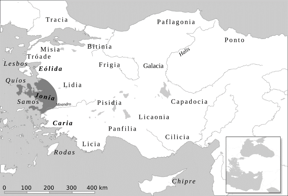 Map showing the location of Ionia within Anatolia/modern-day Turkey.