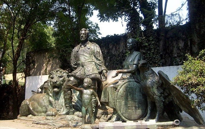 The Hidden statue of Cortes, La Malinche and their son, Martin,  2009, Chetumal.