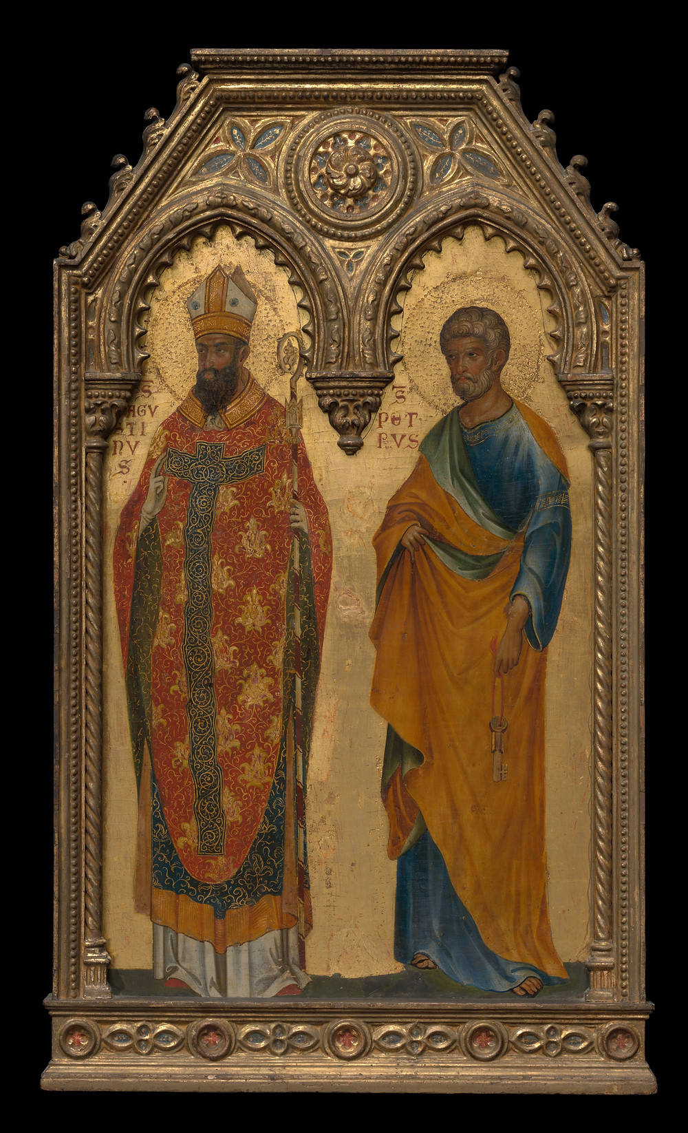 Saints Augustine and Peter; Paolo Veneziano and workshop, Italian, c. 1350.
