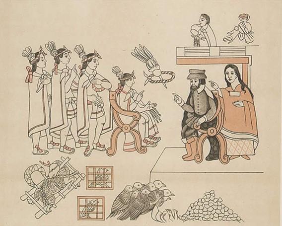 La Malinche, Hernan Cortes and Moctezuma. (Lienzo de Tlaxcala).