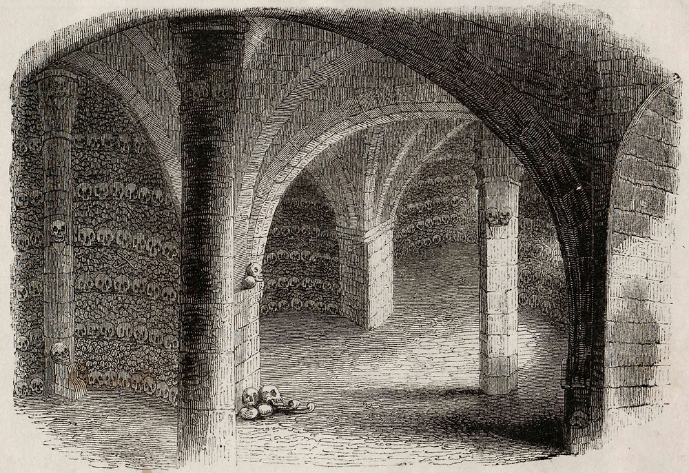 The 'celebrated bonehouse' at Ripon Cathedral, as described by Francis Buckland. Author's collection.  Engraving. Scanned from a loose print, but as it appears in Harrison, W. (1892) Ripon Millenary, A Record of the Festival: Part II. p194. Ripon: W. Harrison.