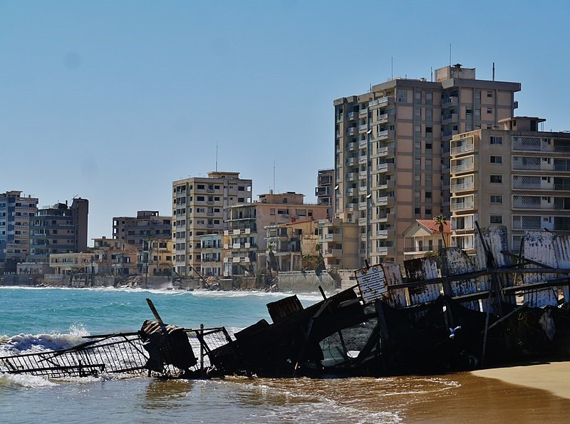 The once tourist hotspot quarter of Famgusta, Varosha, in its current state of disrepair.