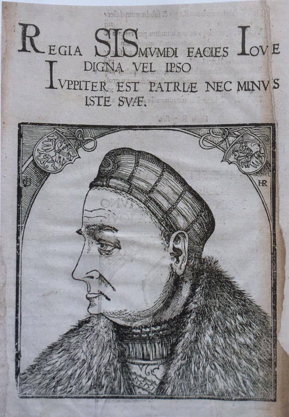 Figure 6 (above): 'Sigismund I as Jove', woodcut from Statuta Serenissimi Domini Sigismundi, 1524. Cracow, Biblioteka Jagiellońska. Reproduction permitted by M. Fabiański.    Figure 7 (left): Sigismund Augustus. 'Jodocus Ludovicus Decius, 'De Iagellonum familia liber II', 1521.