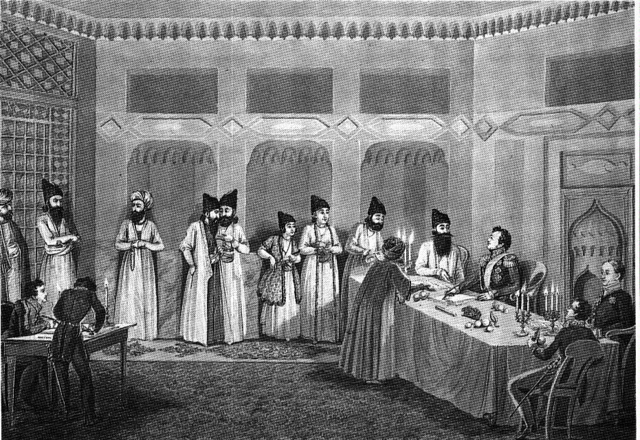 Penitent Iranian negotiators at the Peace of Turkmanchai, 1828.