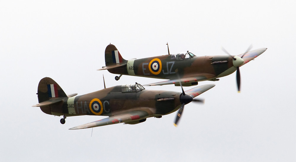 Hurricane and Spitfire Mk1A.