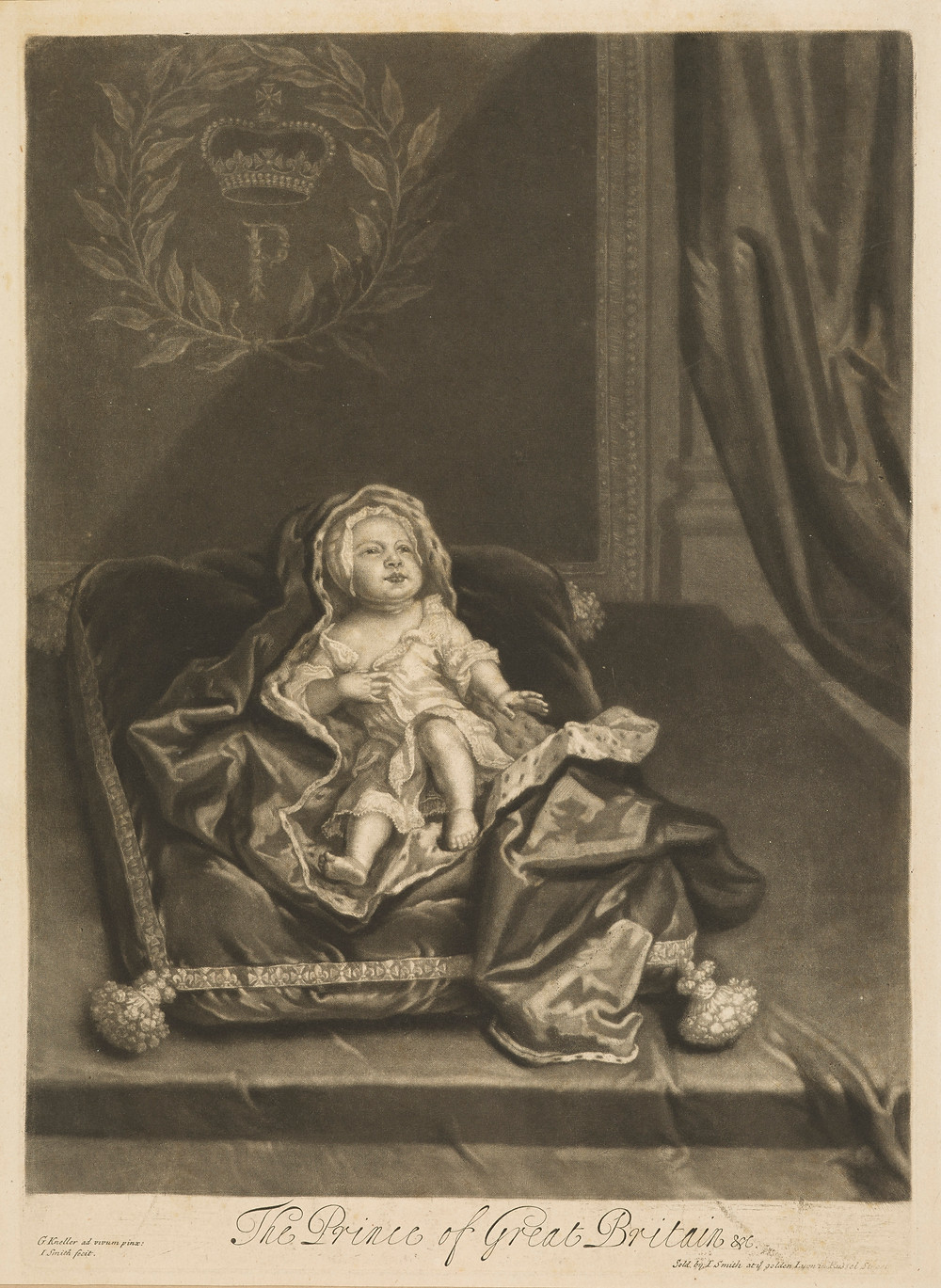 One of the genuine prints announcing the birth of James Francis Edward Stuart, Prince of Wales. He would grow old in exile as a figurehead for the Jacobite Risings, and become the father of Bonnie Prince Charlie. Source: National Galleries Scotland.