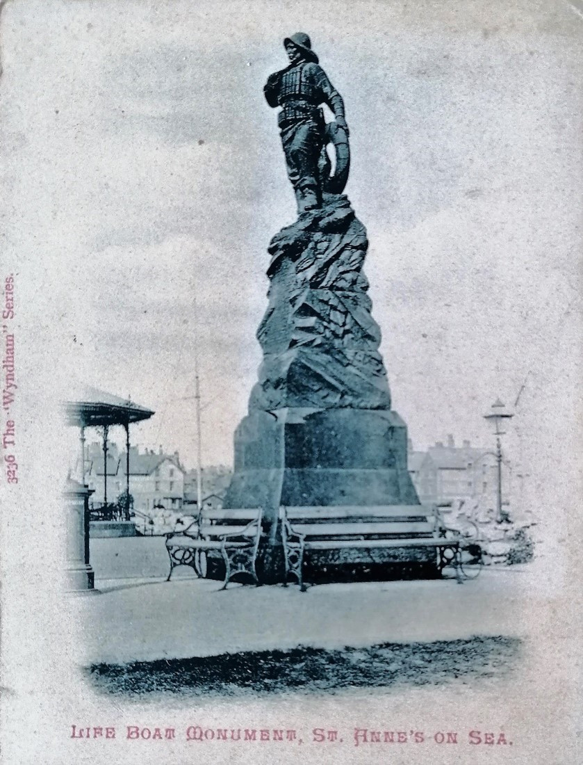 St Anne's Lifeboat Monument. Postcard from the Wyndham series, 1902. From Andrew's collection.