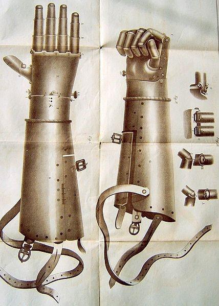 Figure 2: Götz von Berlichingen's second prosthetic arm. Christian von Mechel, 'Die eiserne Hand des Ritters Götz von Berlichingen in ihrer natürlichen Grösse' (Berlin, 1815), in Friedrich Wolfgang, Götz von Berlichingen-Rossach, Geschichte des Ritters Götz von Berlichingen mit der eisernen Hand und seiner Familie (Leipzig: J. M. Brockhaus, 1861), p. 478.
