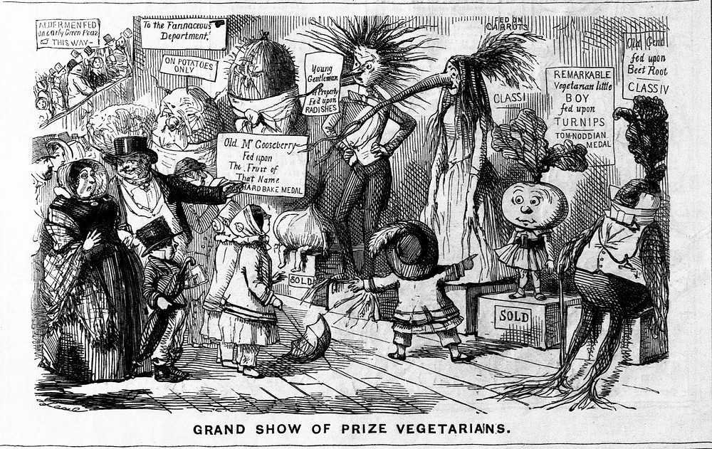 Grand Show of Prize Vegetarians, a cartoon by John Leech mocking vegetarianism, published in Punch by William Bradbury of London, 24th December 1851. (Source: University of Strathclyde Library)