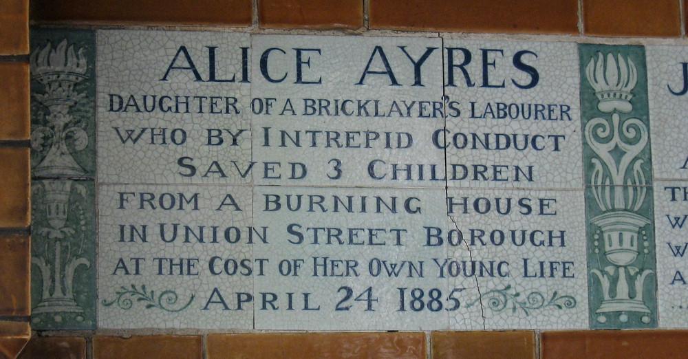 Tile in Postman's Park in the City of London commemorating Alice Ayres.