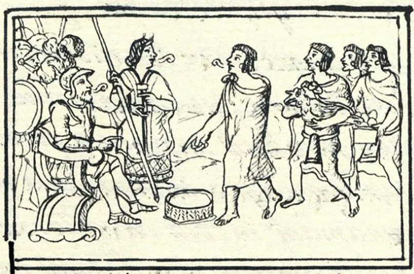 Malinche, in front of and translating for Cortes from an Aztecan tribe. (Florentine Codex).