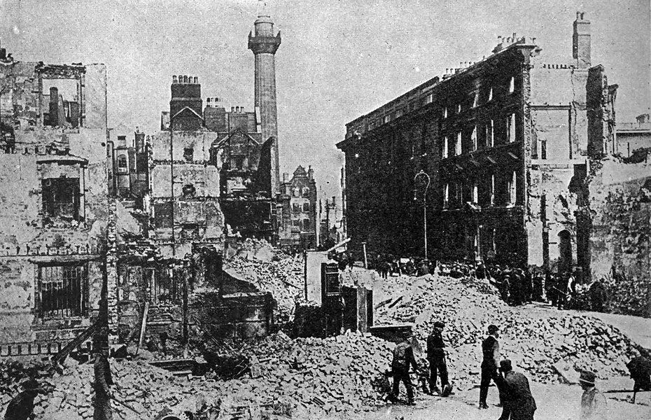 Sackville (now O'Connell) Street, Dublin, after the 1916 Easter Rising.