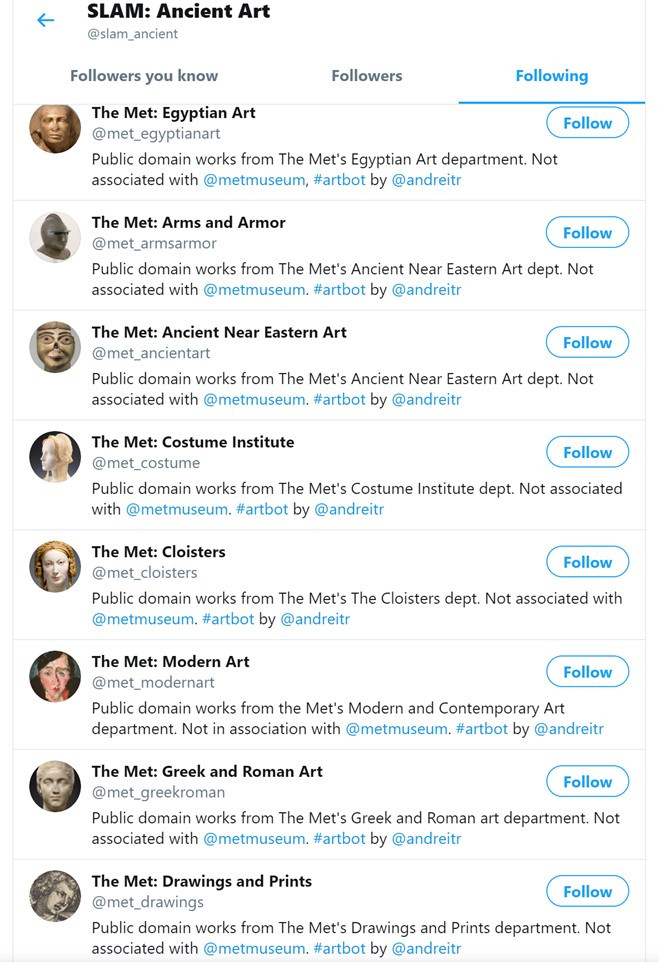 Figure 2: A bot and its friends – the Twitter bot account for the St Louis Art Museum's Ancient Art Department and the various Met Museum social bot that it follows