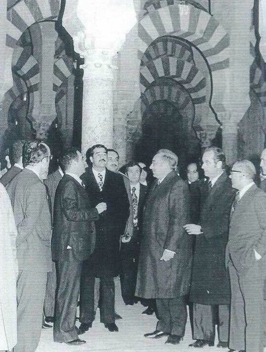 Saddam Hussein in the Cordoba Mosque and Cathedral, 1974.
