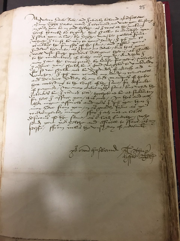 Letter from Lord Lisle to Lady Lisle dated 8th November, 1538 (Catalogue reference: TNA, SP 3/1, fol. 15r)