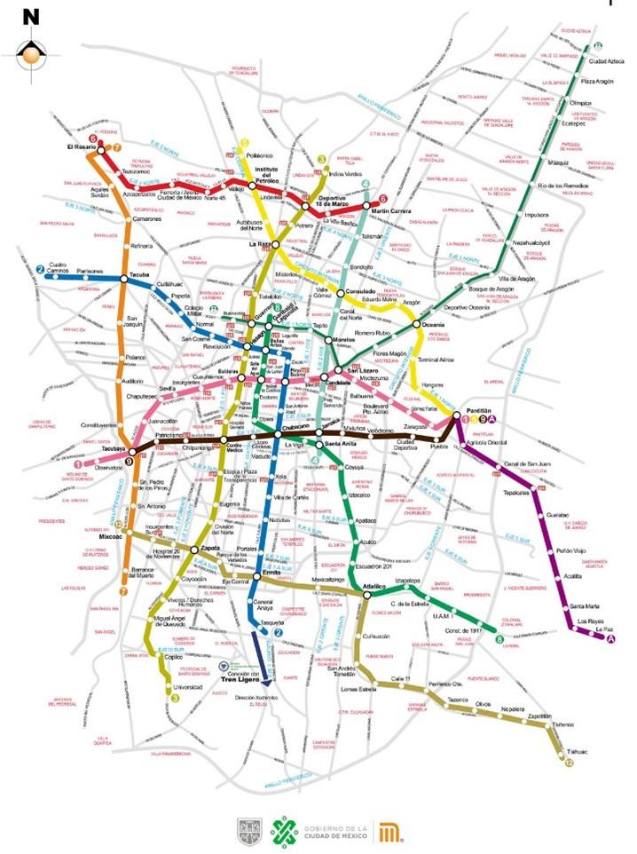 Figure 4: Maps showing Mexico City's Metro network  Left: CDMX Metro, 'Mapa de Movilidad Integrada de la Ciudad de México', Gobierno de la Ciudad de México, Retrieved 9 October 2020; Right: CDMX Metro, 'Mapa de La Red con calles y avenidas', Gobierno de la Ciudad de México, Retrieved 9 October 2020.