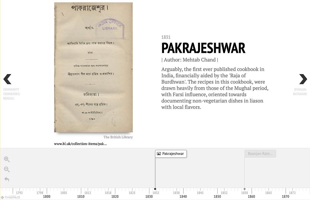 Screenshot of the 'Bengali Cookbooks Timeline'
