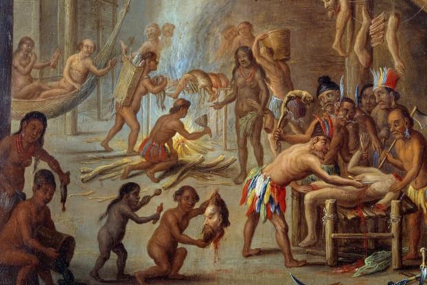 Jan van Kessel the Elder, Scene of cannibalism in Brazil, 18cm × 24cm, Musee de Nouveau-Monde, La Rochelle.