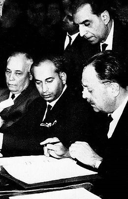 Ayub Khan signing the Tashkent Agreement 1966