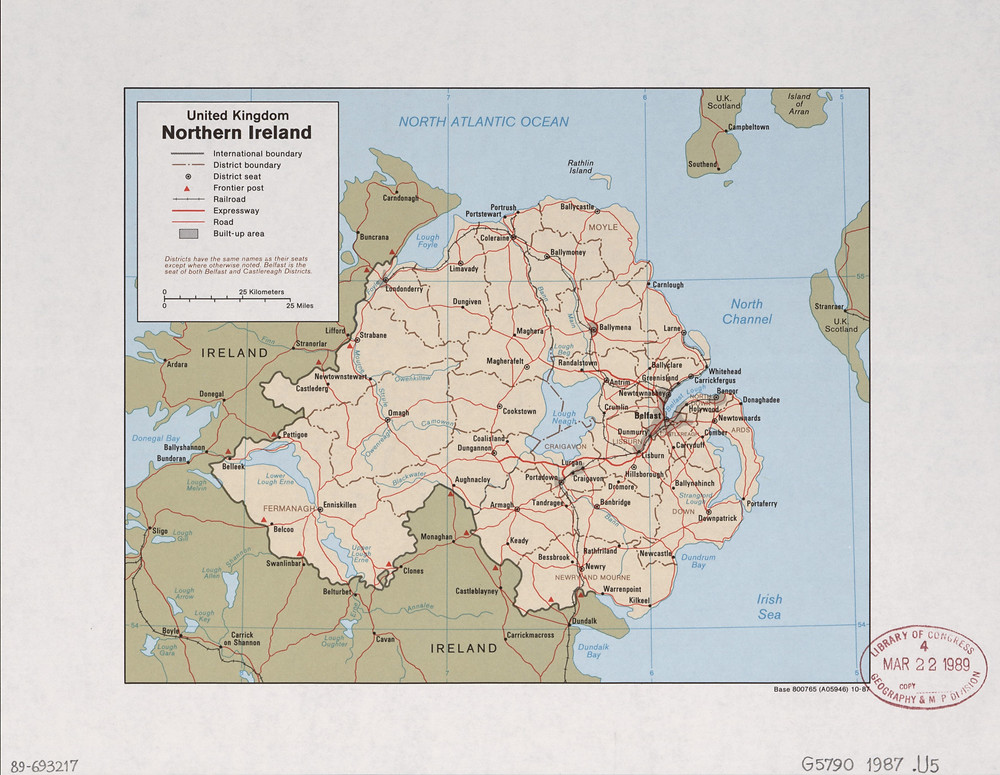 Map of Northern Ireland. From the United States Library of Congress' Geography and Map Division.