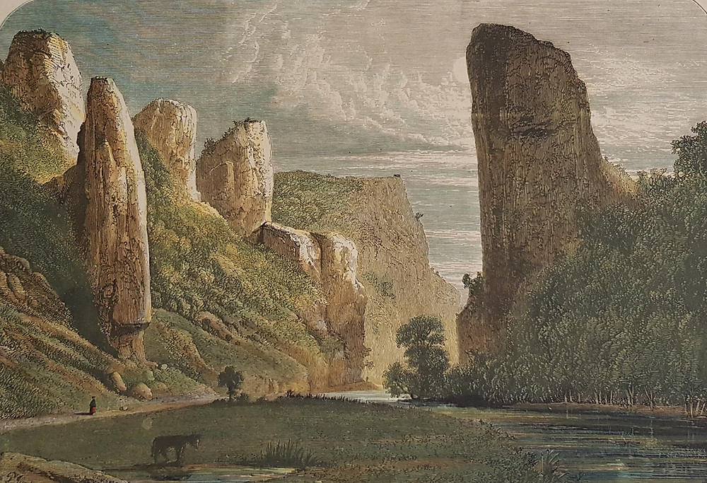 19th C. hand-coloured engraving of Dovedale by Percy William Justyne (1812-83). Property of the author.