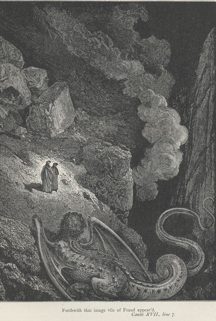 Gustave Doré, 'Arrival of Geryon'. Dante Alighieri's Inferno from the Original by Dante Alighieri and Illustrated with the Designs of Gustave Doré (New York: Cassell Publishing Company, 1890).
