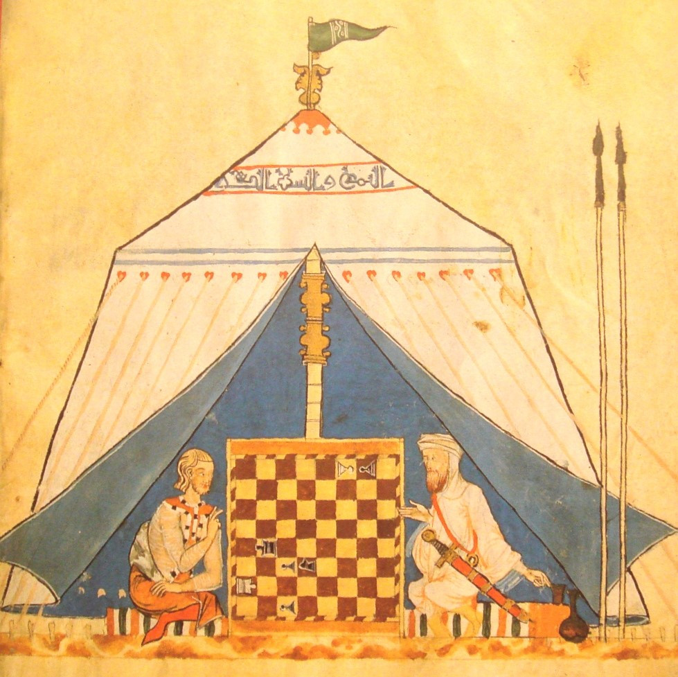 A Christian and a Muslim playing chess, 13th century