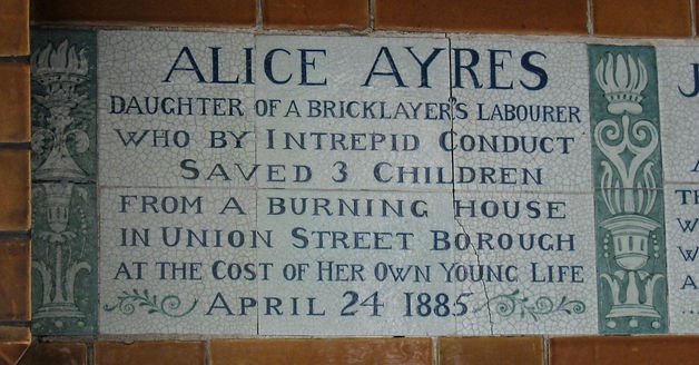 Tile inPostman's Parkin theCity of Londoncommemorating Alice Ayres.