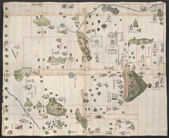 Figure 6: The map of Cempoala. Relaciones Geográficas de México y Guatemala, 1577-1585. Joaquín García Icazbalceta Manuscript Collection, University of Texas.