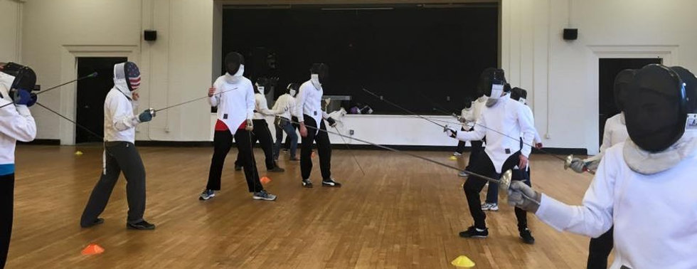 Row of fencers