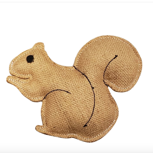 Eco-Friendly Rustic Jute Squirrel Dog Chew Toy