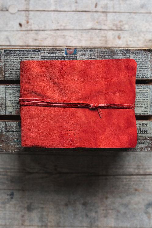 Fotoalbum rood leer - handgemaakt