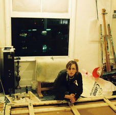 Shoreditch Studio, Louise helping, 2003