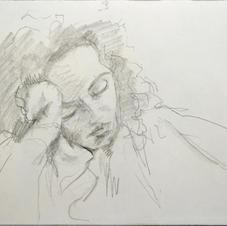 skb3. Woman asleep, TGV, Marseille to Pa