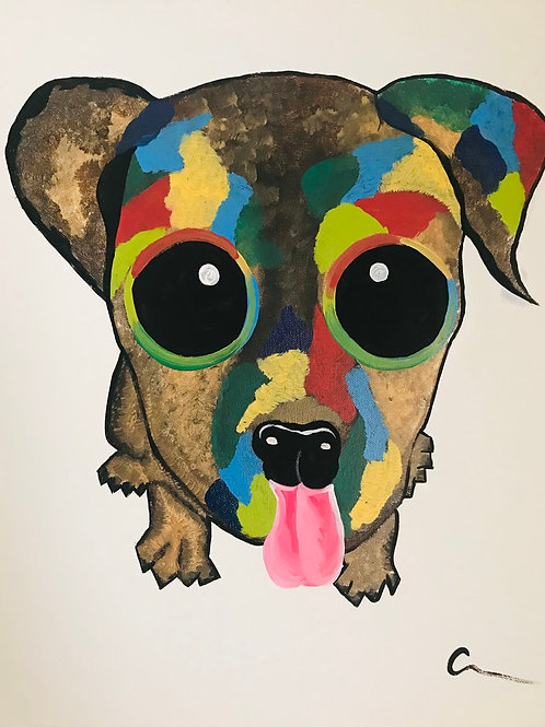 Puppy Dog Eyes 16x20 acrylic canvas painting