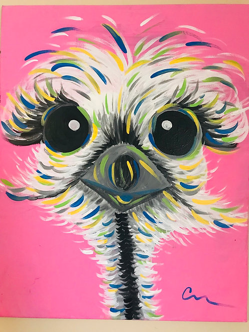 Baby Ostrich girl 16x20 acrylic canvas painting