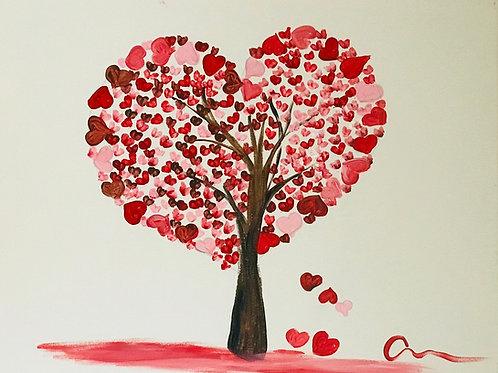 Love (heart) tree canvas painting 16x20