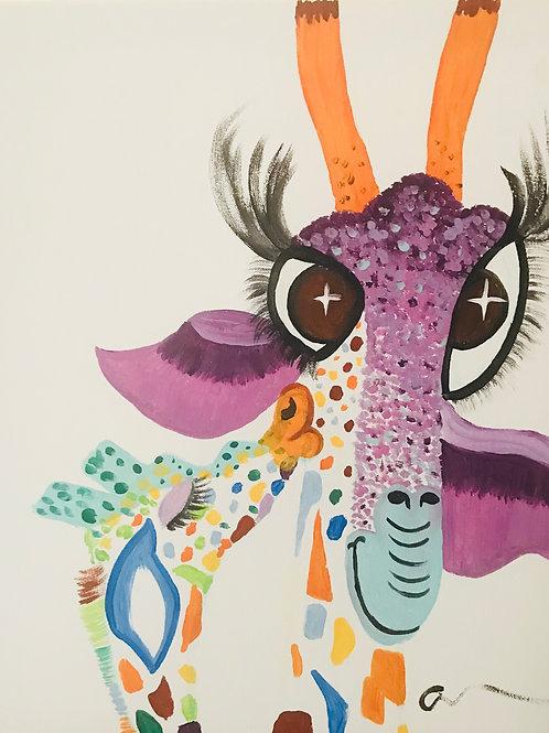Giraffe Canvas Painting 16x20