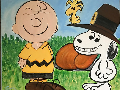 "Thanksgiving ""Peanuts"" Canvas Painting 16x20"