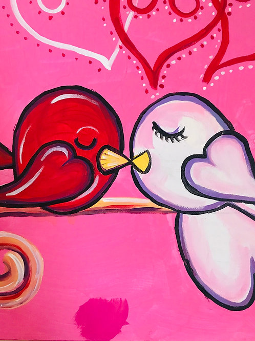 Abstract Lovebirds acrylic canvas painting 16x20 in size