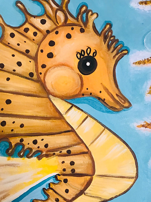 Baby Seahorse with Starfish acrylic canvas painting 16x20 in size