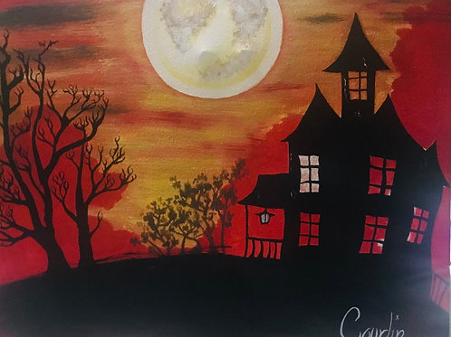 Haunted house original acrylic canvas painting 16x20 in size