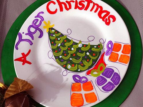 Clemson Tigers Christmas Tree plate