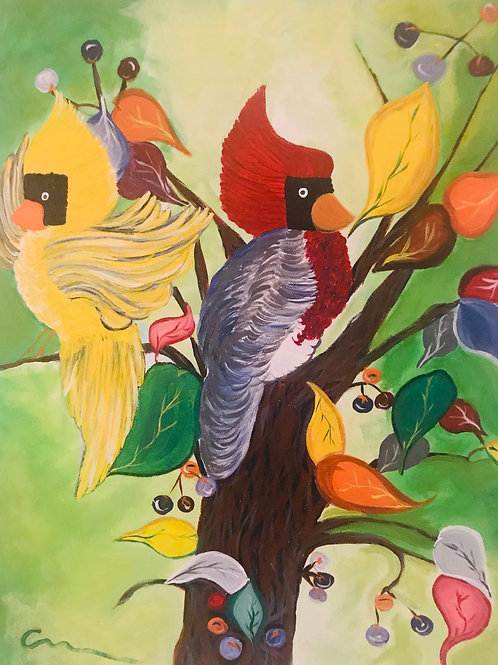 Cardinals in the tropics original canvas painting 16x20