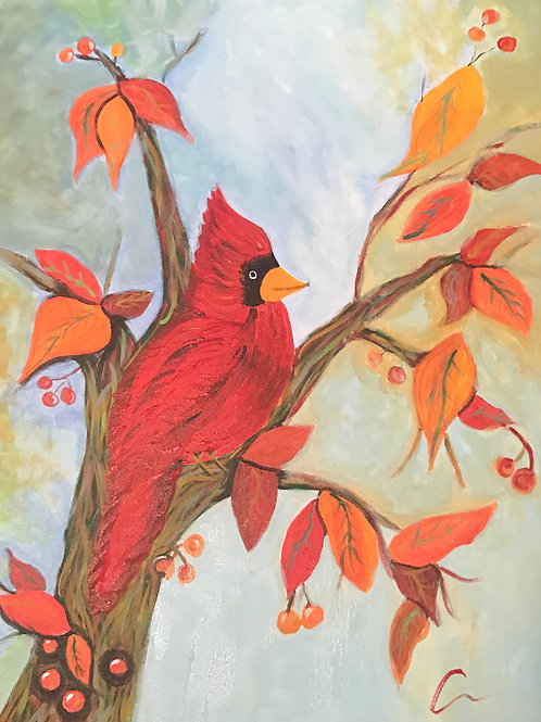 Cardinal in Autumn Canvas Painting 16x20